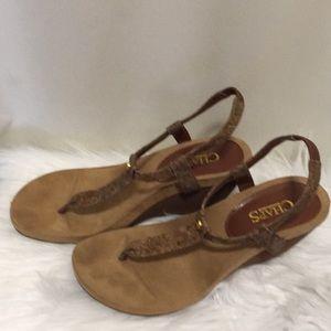 Chaps, wedge platform sandals, size 7, EUC.
